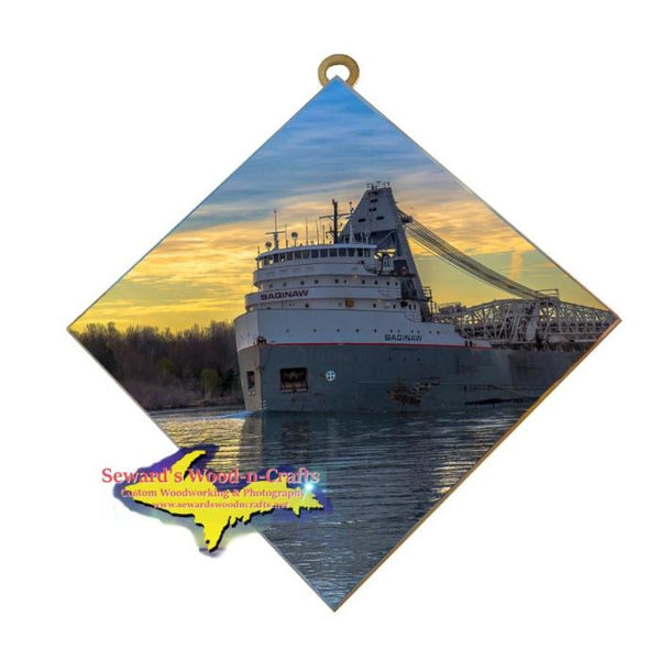 Great Lakes Freighter Gifts Saginaw Wall Art Photo Tile For Boat Lovers