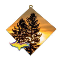 Sunset Pine Trees Michigan Made Best Photo Tiles