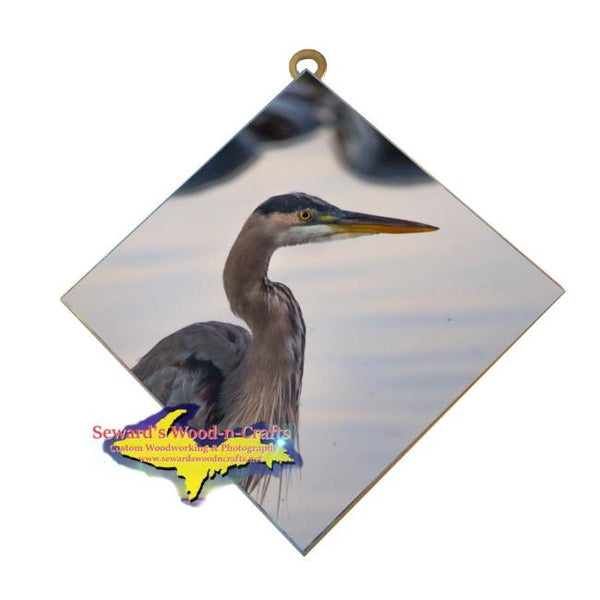 Wildlife Photography Blue Heron Hanging Art Tile Affordable Michigan Made gifts