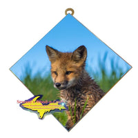 Michigan Wall Art Wildlife Photography Fox Hanging Art Tile