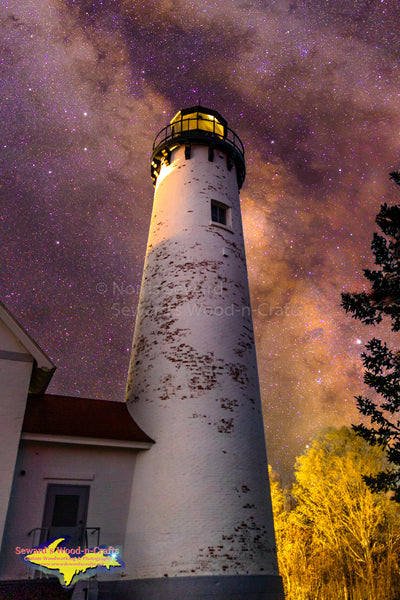 Michigan Landscape Photography Milky Way Over Iroquois Point Lighthouse Brimley Michigan