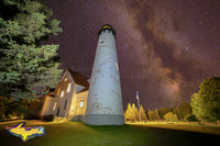 Michigan Photography  Point Iroquois Lighthouse and the Milky Way at Brimley, Michigan