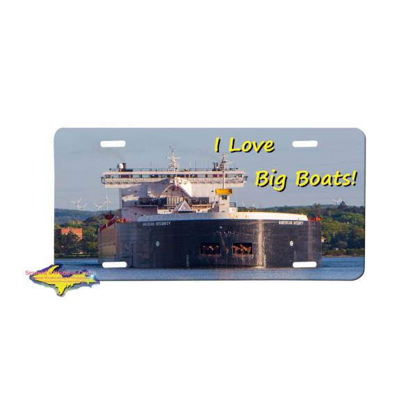 Great Lake Freighter American Integrity license plate boat fan gifts