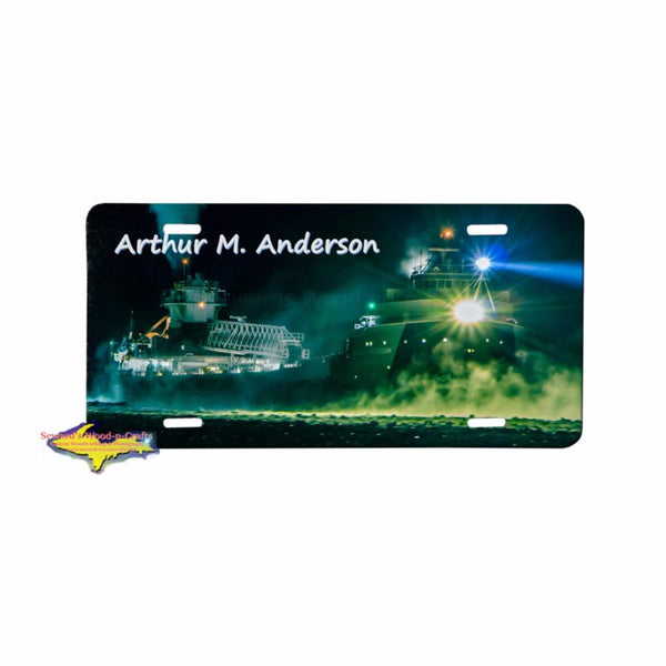 Great Lake Freighter Arthur M. Anderson on a premium aluminum license plate