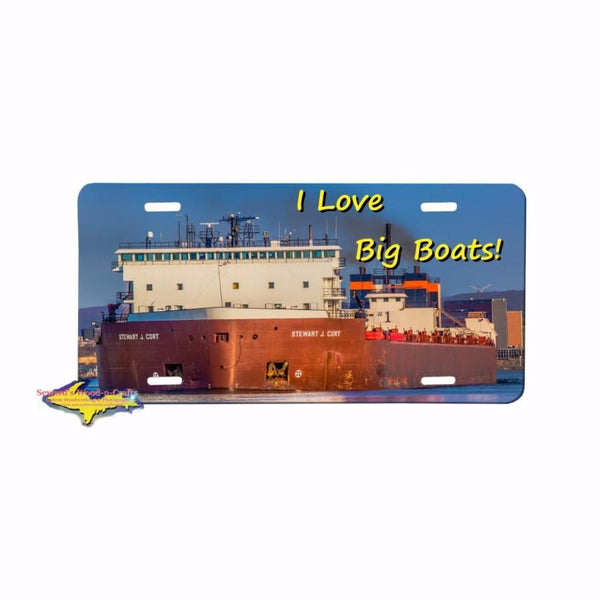 Great Lake Freighter Stewart J Cort on a premium aluminum license plate For Boat Fans