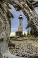 Michigan Photography Looking through a piece of driftwood at Crisp Point Lighthouse