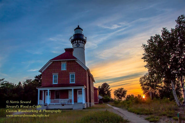 Au Sable Point Lighthouse Sunset Photo Michigan's Upper Peninsula Photography Images