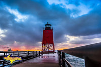 Charlevoix Michigan Lighthouse Winter Sunset Photo Royalty Free Stock Image