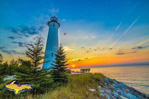 Michigan Photography Crisp Point Lighthouse Sunset Over Lake Superior Photo