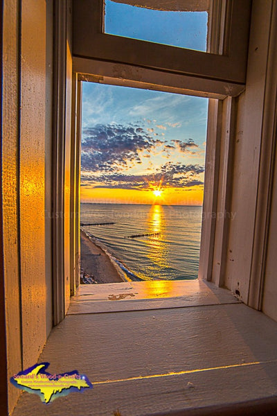 Looking out from the tower of Crisp Point Lighthouse Michigan's Upper Peninsula photography