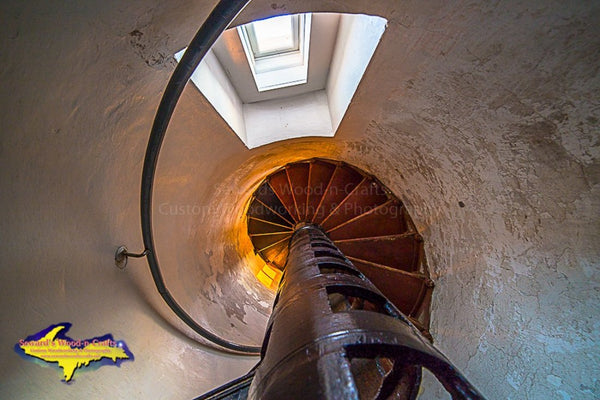 Looking inside the tower of Crisp Point Lighthouse Michigan's Upper Peninsula photography