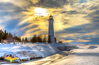 Lighthouse Crisp Point Winter Sunset Photo Michigan Photography For Sale