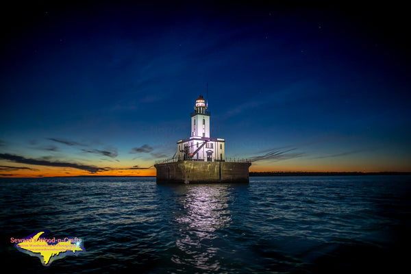 Michigan Lighthouses A Beautiful Nightscape of Detour Lighthouse Detour Michigan Photos