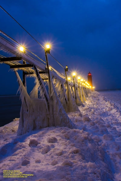 Michigan Photography An Icy Night At Grand Haven Lighthouse Best Photos Michigan Decor