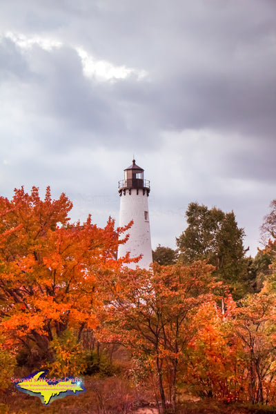 Michigan Photography  Point Iroquois Lighthouse Autumn Artwork For Sale
