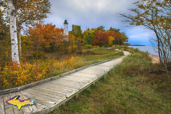 Michigan Photography  Point Iroquois Fall Colors Lighthouse Brimley, Michigan