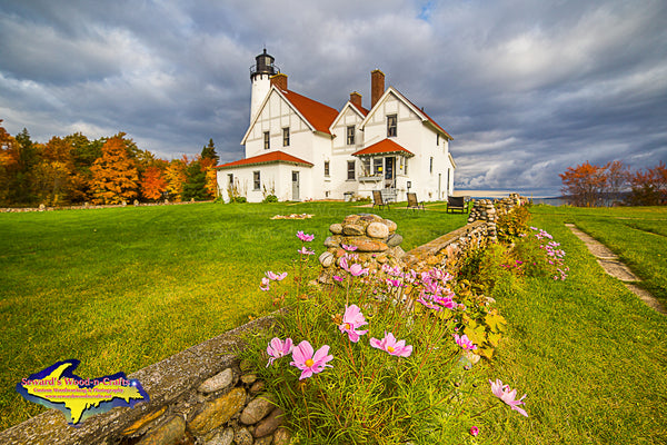 Point Iroquois Lighthouse at Autumn Colors at Brimley, Michigan