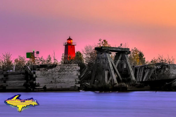 Michigan Photography Manistique East Breakwater Lighthouse & Old Historical Ferry Dock