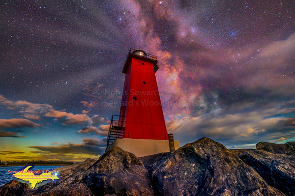 Michigan Artwork  Milky Way Over Manistique Lighthouse Composite Image Digital Art.