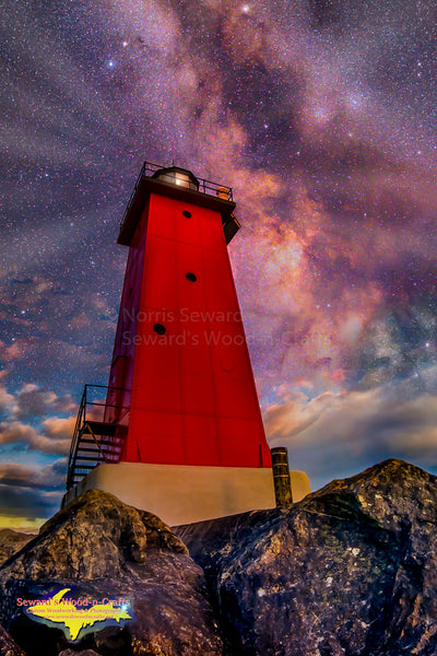 Michigan Lighthouses  Milky Way Over Manistique Lighthouse Composite Image