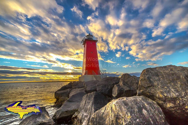 Michigan Photography Manistique East Breakwater Lighthouse Sunset Best Landscape Photos For Sale