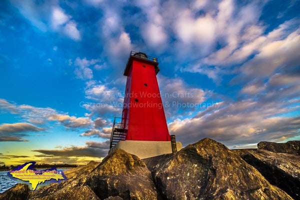 Michigan Photography Manistique East Breakwater Lighthouse On A Sunset Sky