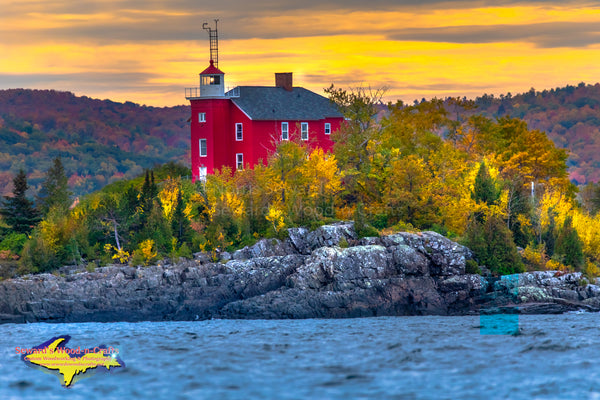 Michigan Lighthouses Marquette Harbor Lighthouse Autumn Sunset