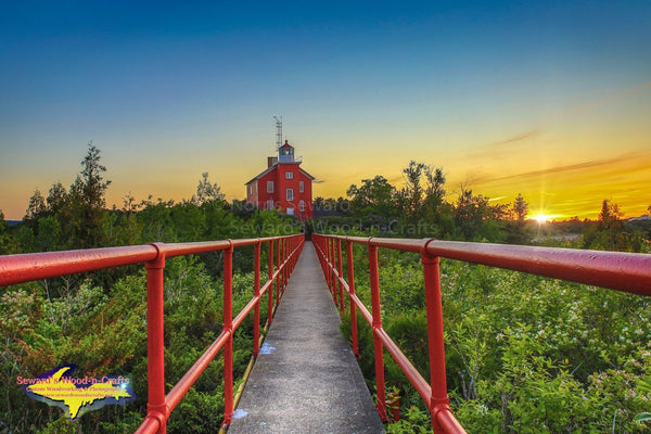 Michigan Landscape Photography Sunset on Marquette Lighthouse, Marquette Michigan Photos