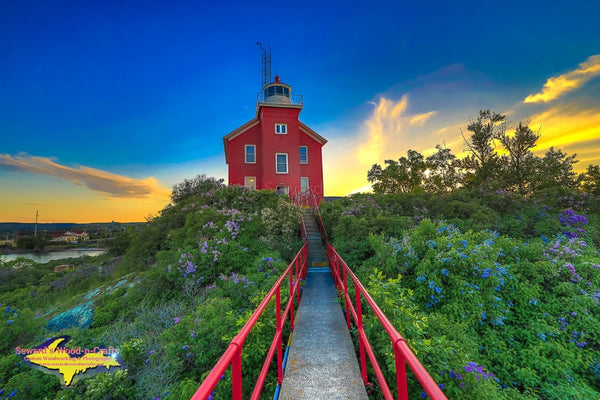 Michigan Landscape Photography Sunset on Marquette Lighthouse