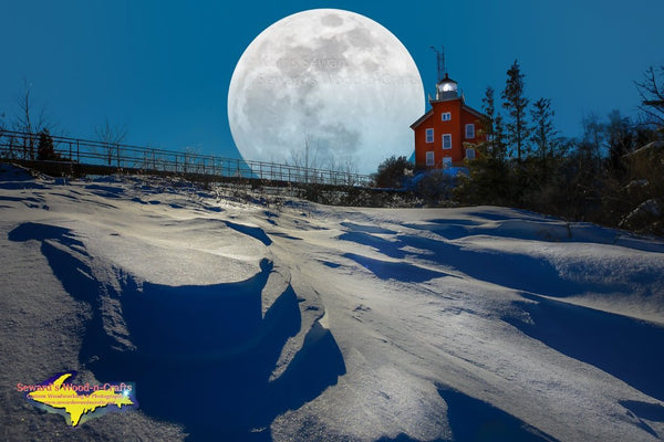 Michigan Landscape Photography Super Snow Moon Marquette Michigan Composite Image