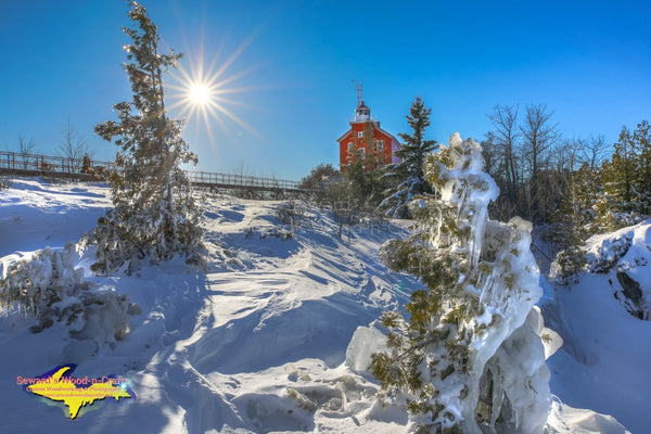 Michigan Landscape Photography Marquette Lighthouse Winter Sun Photo