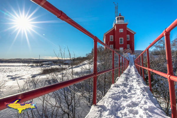 Michigan Landscape Photography Marquette Harbor Lighthouse Winter Photo