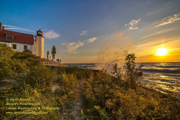 Michigan Photography Point Betsie Lighthouse Sunset Home Office Decor