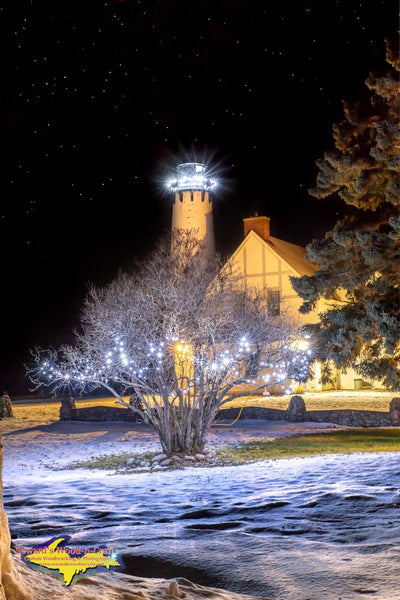 Michigan Photography Point Iroquois Winter Night Lighthouse Brimley, Michigan