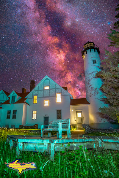Michigan Photography  Iroquois Point Lighthouse and the Milky Way near Brimley Michigan.