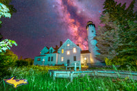 Michigan Photography Milky Way at Iroquois Point Lighthouse near Brimley Michigan