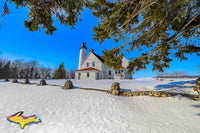 Point Iroquois Lighthouse Winter Sault Ste. Marie Michigan Royalty Free Stock Images