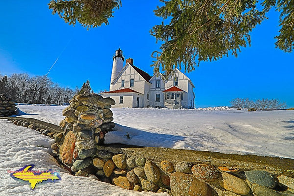 Michigan Landscape Photography Point Iroquois Winter Lighthouse Brimley, Michigan