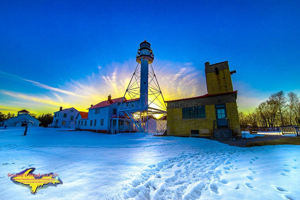 Michigan Landscape Photography Lighthouse Whitefish Point Burning Sunset Photo