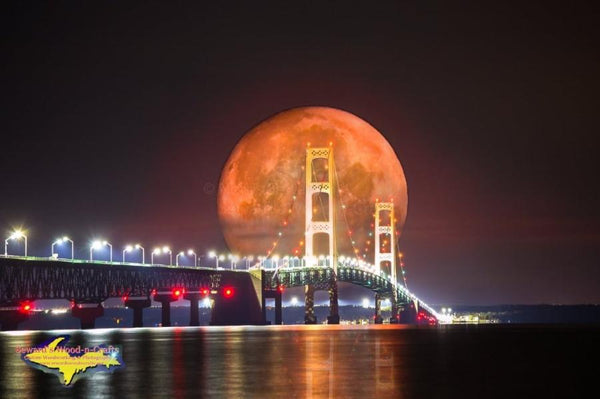 Michigan Landscape Photography Full Blood Wolf Eclipse Moon Over Mackinac Bridge Digital Art (Composite image)