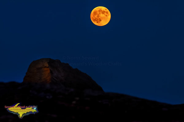 Michigan Landscape Photography Beautiful Full Moon Over The Black Rocks Marquette, Michigan