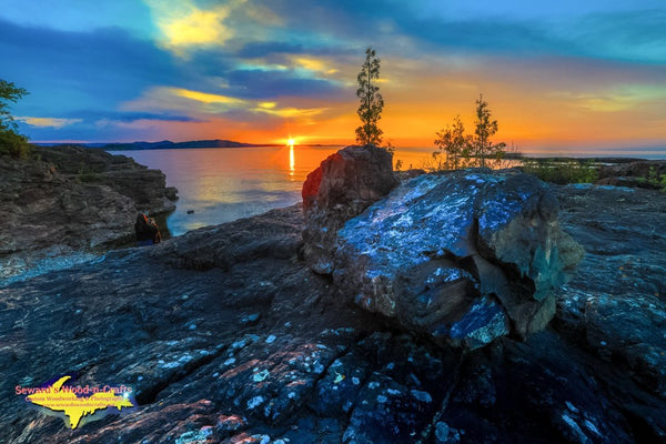 Michigan Landscape Photography Beautiful Sunset On Black Rocks Of Presque Isle Park Marquette, Michigan