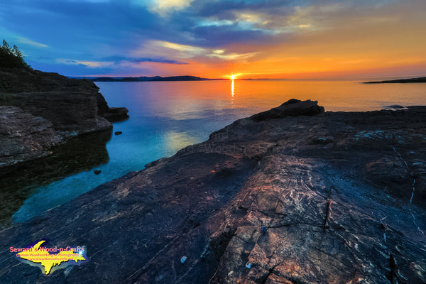 Michigan Landscape Photography A Beautiful Sunset Black Rocks Marquette, Michigan