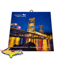 Portage Lake Lift Bridge Gate Way To Copper Country Houghton Michigan Made Photo Tile