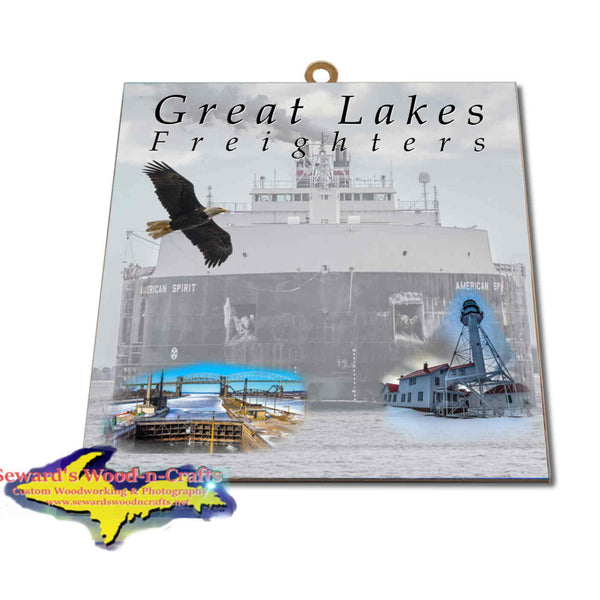 Great Lakes Freighters Hanging Art American Spirit Photo Tiles, Prints, Gifts & Collectibles
