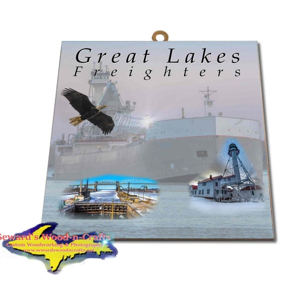 Great Lakes Freighters Hanging Art Tug Victory & Barge Maumee Photo Tiles, Prints, Gifts & Collectibles