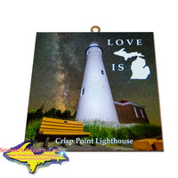 Crisp Point Lighthouse Milky Way Hanging Art Tiles Memes Yooper Gifts