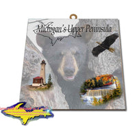 Michigan Made Artwork Michigan's Upper Peninsula Black Bear Cub Hanging Wildlife Photo Tiles