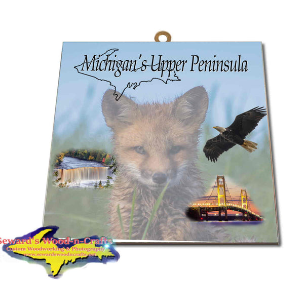 Michigan Made Artwork Michigan's Upper Peninsula Fox Hanging Photo Tiles