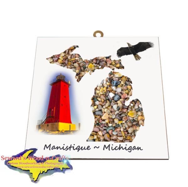 Manistique Michigan Upper Peninsula Theme Photo Tile Gifts & Collectibles